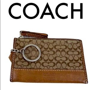 COACH brown   tan wallet and keychain leather trim